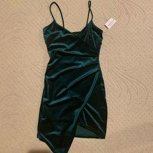 Velvet hunter green mini dress